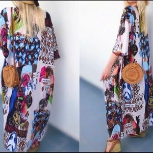 Accessories - Bohemian Half Sleeve Multi Printed Kimono